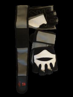 Fitnesshandske med handledsstöd, grått / svart och vitt