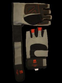 Fitnesshandske med handledsstöd, grå / svart / röd