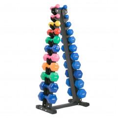 Tidløs pyramideformet håndvægtsstativ vist med håndvægte, fra KettlebellShop™